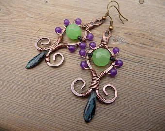 Envoltura de alambre envuelto artesanal Boho pendientes étnicos araña pendiente único bohemio joyas Multi Color pendientes abalorios joyas Etsy largo de alambre