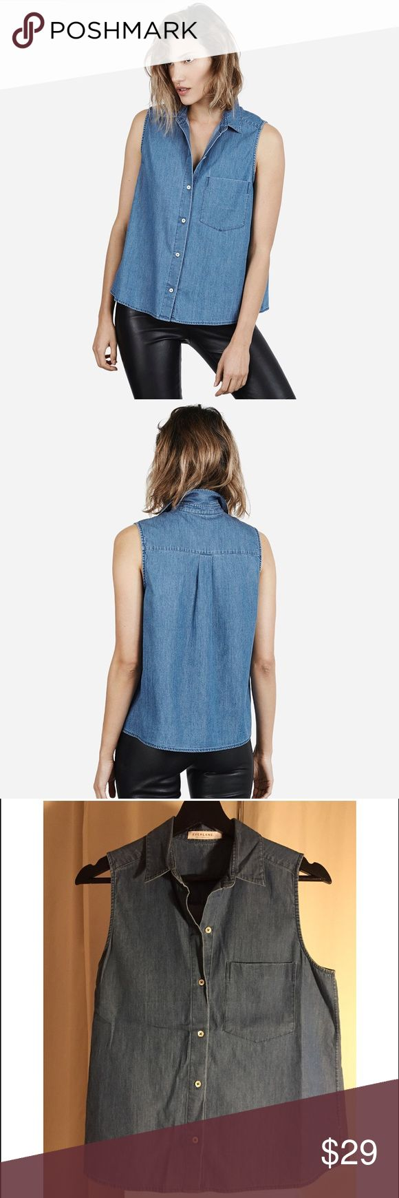 Everlane Sleeveless Denim Top Super soft lightweight denim shirt. 100% cotton. Hand wash cold. White pearl like buttons. One chest pocket. Worn once. Everlane Tops Button Down Shirts