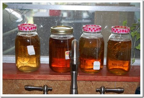 Iced tea for a crowd- make concentrated in mason jars. Then when you run out just pour in pitcher and add water.