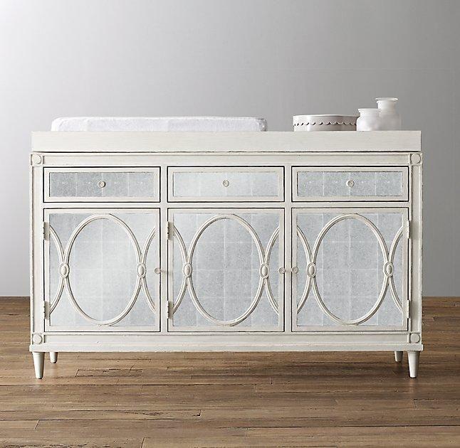 Antique Mirror Topper Set Vintage White Wide Cabinet