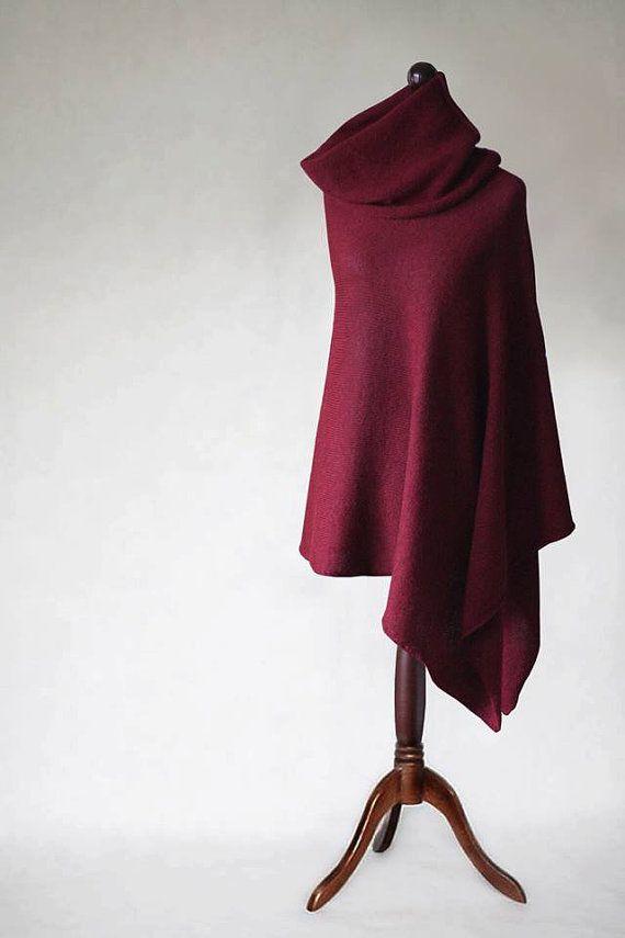 Alpaca poncho knit poncho cherry red poncho by KnitwearFactory