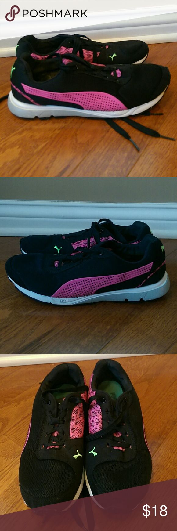 Puma Running Pink & Black Size 7.5 Good condition. Some wear to insole and tread. Very light scuffing to the front. Pictures show more detail. Puma Shoes Athletic Shoes