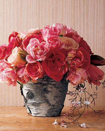 How to Make Bark-Wrapped Flower Pots by marthastewart #Flower_Pots #Bark #marthastewart