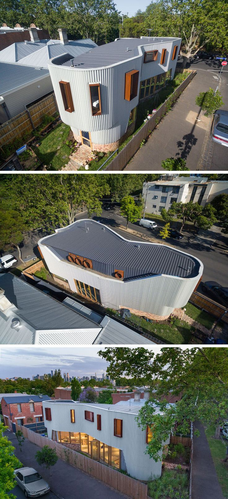 This australian house has a curved exterior of zig zag metal