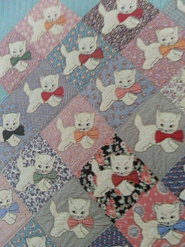 Vintage 1930/1940 Kitten Quilt close up.