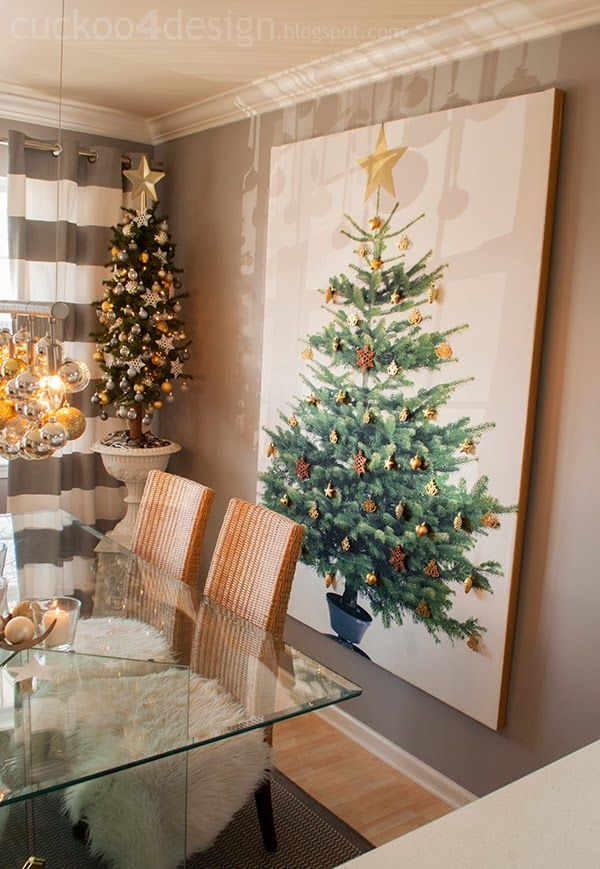 "Great way to put a Christmas tree in a tiny...have a picture of a beautiful tree made into a stretched canvas print ""shutterfly"" then attach some pretty ornaments to the canvas.  LOVE THIS IDEA!!!  I would add light too by poking them through from the back."