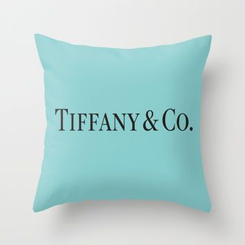 Tiffany Blue  Throw Pillow by Luxe Glam Decor