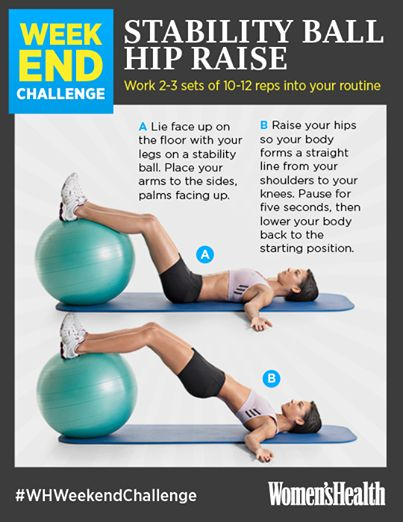 Last-minute #WHWeekendChallenge before the week of Christmas begins! The Stability Ball Hip Raise strengthens your glutes while simultaneously activating your abs—the perfect two-in-one exercise.