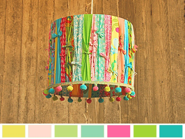 Scrappy fabric tied lamp shade