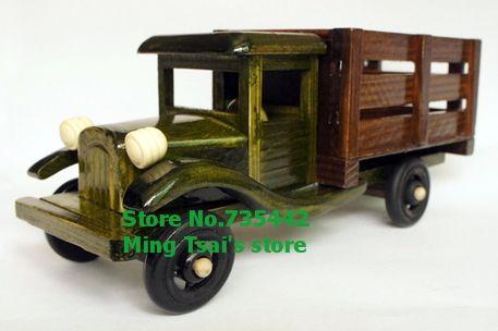 gratis verzending houten steekwagen auto model ambachten vintage interieur gadget noviteit huishoudens novelty items nieuwe 2014(China (Mainland))
