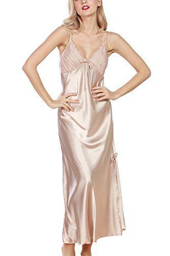 2c70a9114de34 Dolamen Women's Nighties Satin, Ladies Silky Pyjamas Lace Nightwear, Chemise  Long Nightdress