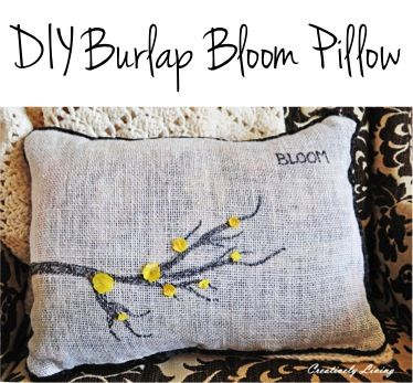 DIY Burlap Bloom Pillow! {spruce up your bedroom or living room with a sweet and simple burlap pillow!}