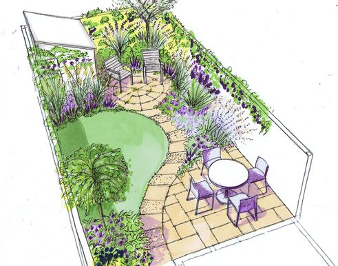 Strongly defined lawn contrasts with patios and planting in a well designed small garden.
