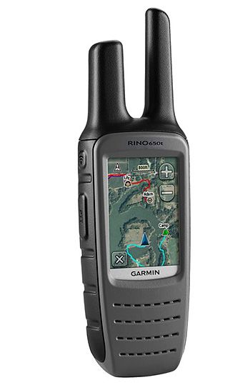 """Garmin Rino 650t - Boasting a 20-mile range, the Rino 650t is latest in handheld 2-way radios from Garmin. It comes preloaded with detailed TOPO U.S. 100K maps and a 1-year subscription to BirdsEye Satellite imagery and features a 2.6"""" color display and a full navigational toolset with high-sensitivity GPS, barometric altimeter, 3-axis electronic compass and NOAA weather radio. 