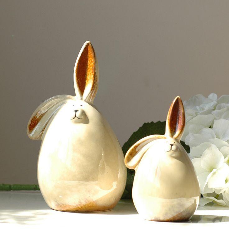 Wedding decoration European style white white rabbit ceramic piggy bank money box a pair of lovers wedding gifts_1