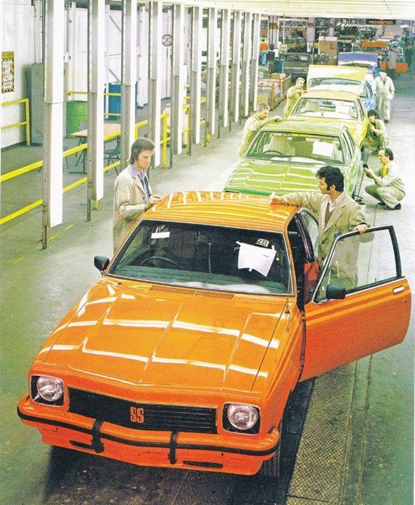 LX Holden Toranas on the Assembly Line in the mid 1970's. Interesting facts from the time, in 1976 General Motors Celebrated it's 50th Anniversary in Australia, the final production run of the Monaro coupe begins with 600 LE (Limited Edition) models released. The LX Torana four cylinder is relaunched as the Holden Sunbird in sedan and hatchback, and Bob Morris and John Fitzpatrick take out the 1976 Hardie Ferodo 1000 in their LH Torana SL/R 5000 L34.
