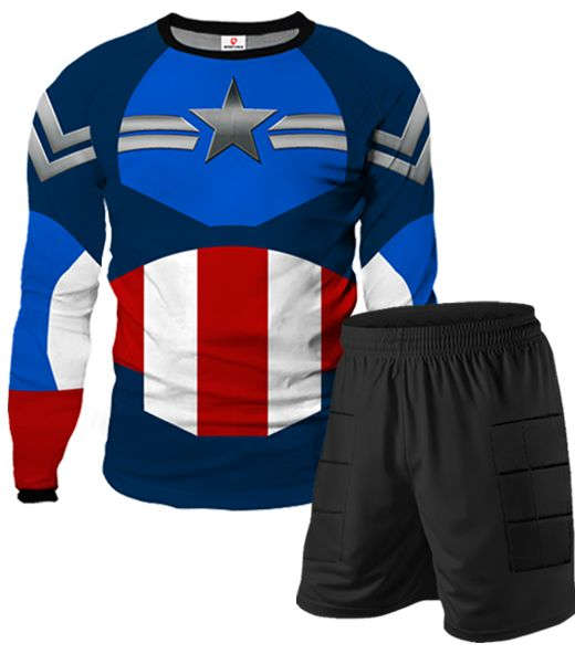 CAPTAIN AMERICA Goalkeeper Shorts Kit With Custom Name and Number