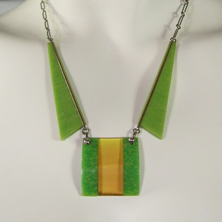 Vintage Jakob Bengel 1930s Green & Amber Art Deco Chrome & Bakelite Necklace: Vintage Jakob, Deco Chrome, Amber Art, Art Deco, Bengel 1930S