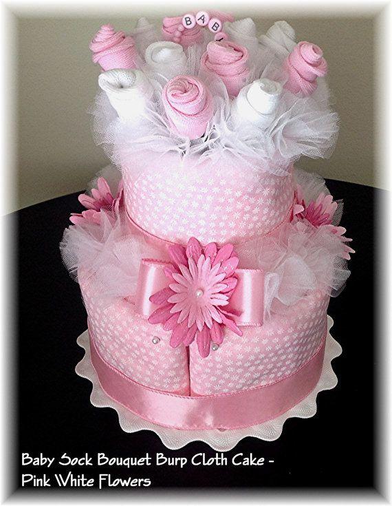 2 Tier Baby Sock Bouquet Burp Cloth Cake U2013 Pink White Flowers U2013 Baby Girl