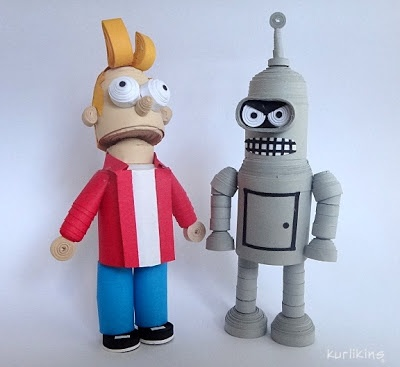 Futurama Strikes Again! Fry and Bender made from paper using 3D quilling techniques