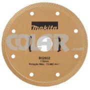 Disco Para Serra Mármore B02602 Turbo Dourado - Makita - Disco Diamantado Continuo.     Medidas: Diâmetro 110 MM     Furo: 20 MM     Aplicação: Mármores e Granitos, refrigeração a água.  www.colar.com