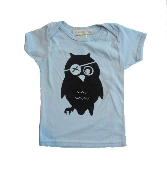 Baby boy gifts, kids baby toddler boys clothing, Bamboo Pirate Owl shirt, 3-6 months, SALE on Etsy, $18.00