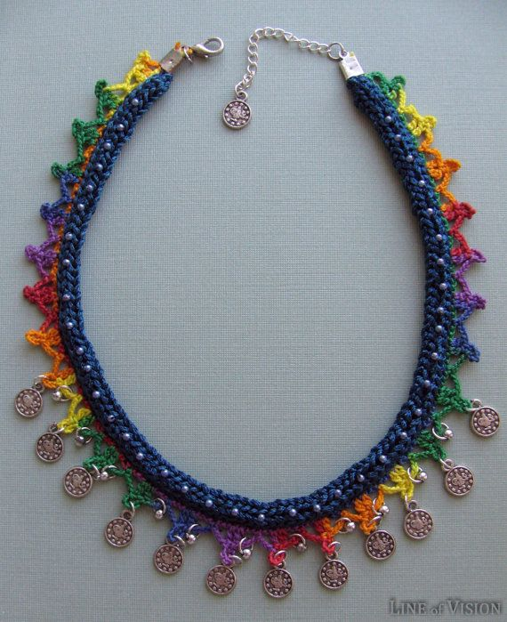 French Knit Necklace Ornamented with Lace, Beads and Charms by LineofVision $24.00