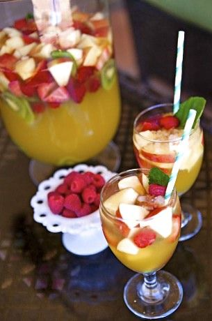 Simple Sangria - 1 can Sprite, 1 can fruit juice (mango), 1 bottle Chardonney, cut up fruit (kiwi, apple, strawberries, rasberries), and mint leaves