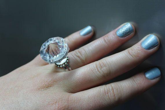 big fake diamond rock plastic novelty statement fun bachelorette kitchen tea bridal shower fun joke engagement ring via etsy pinterest diamond - Plastic Wedding Rings
