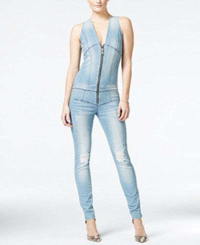 guess women ribbed denim zip up jumpsuit size 0 phot open ** Be sure to check out this awesome product.(This is an Amazon affiliate link)