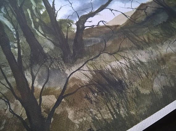 Watercolor Painting | Handmade | Wall Hanging | Home Decor | Landscape | Nature | Gift | Size: Height 35cm X Width 50cm