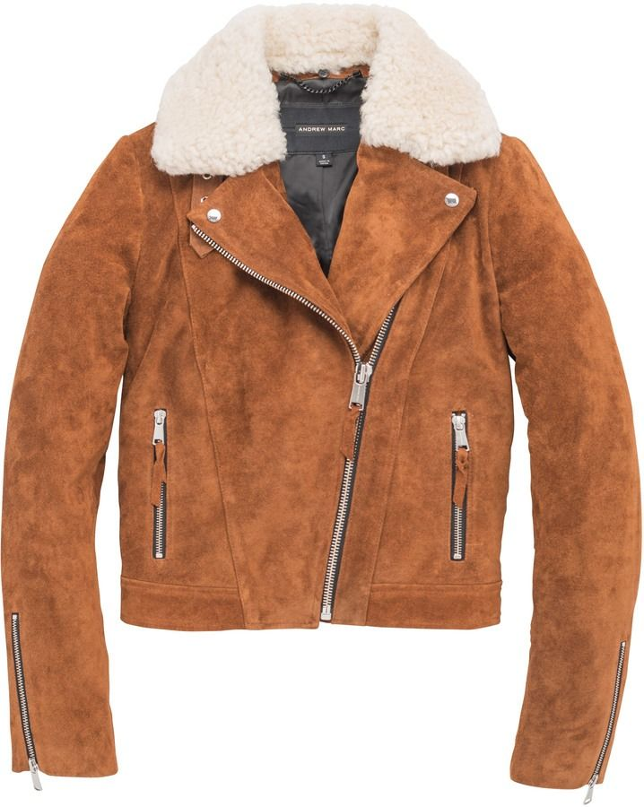 Our two Fashion Week favorites, suede and shearling, come together in this Andrew Marc jacket.