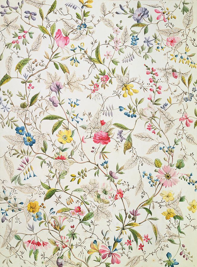 vcrfl: William Kilburn: Wild flowers design for silk material, 1790.