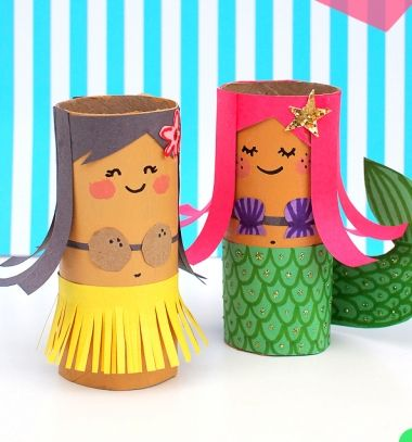 DIY Toilet paper roll mermaid and hula girl - summer craft for kids // Aranyos sellők wc papír gurigából - kreatív ötlet gyereknek // Mindy - craft tutorial collection