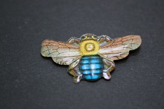 Vintage Tin Brooch Bee Shaped by IntoTheWardrobe on Etsy, $3.00