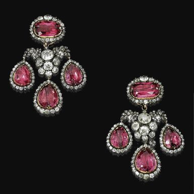 Fine Pair of spinel and diamond pendent ear clips, end of 18th century - c. 1750.