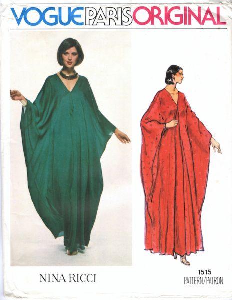 1970s Nina Ricci caftan pattern - Vogue 1515