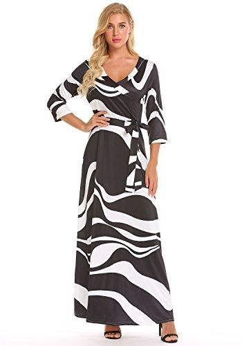 c72f2e28030 Locryz Women s V Neck 3 4 Sleeve Digital Floral Printed Party Loose Long  Maxi Dress with Belt S-3XL