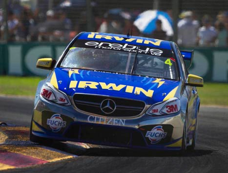 Lee pushing his Irwin Racing E63 AMG to find his way up the pack