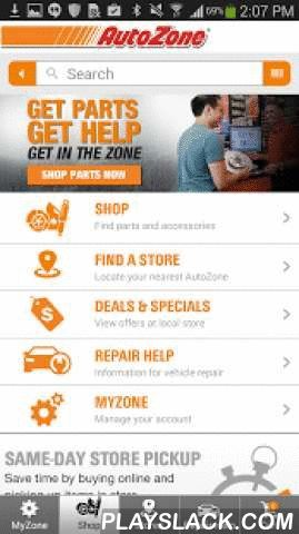 AutoZone  Android App - playslack.com ,  AutoZone® is here to help wherever and whenever you need us. With the AutoZone mobile app you can easily access our entire selection of auto parts. Have what you need sent to your home, or come see us for an in-store pickup. If it's AutoZone's helpful advice you're after, browse our free vehicle repair guides with unlimited access. You can even view your AutoZone Rewards account or simply find your nearest AutoZone using the locator. Everything you…