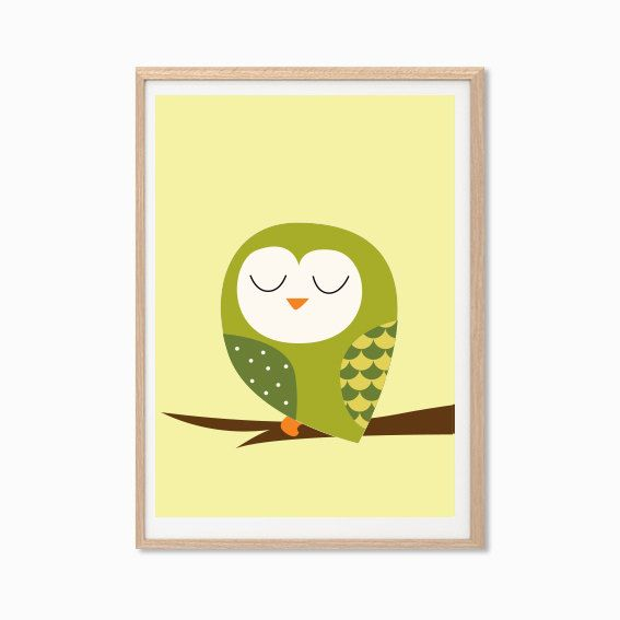 Baby Owl Poster  Modern Animal Illustration by Sealandfriends, $10.50
