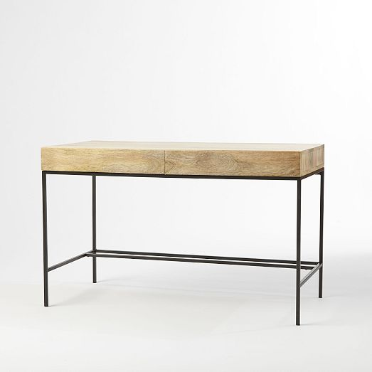 Rustic Storage Desk - A desk that fits in seamlessly. Made of solid mango wood and lofted on airy steel legs, the Rustic Storage Desk includes two seamlessly hidden drawers large enough for stowing away books, papers and other supplies. | west elm - $499