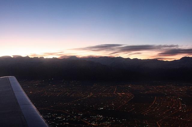 Aerial Santiago sunrise