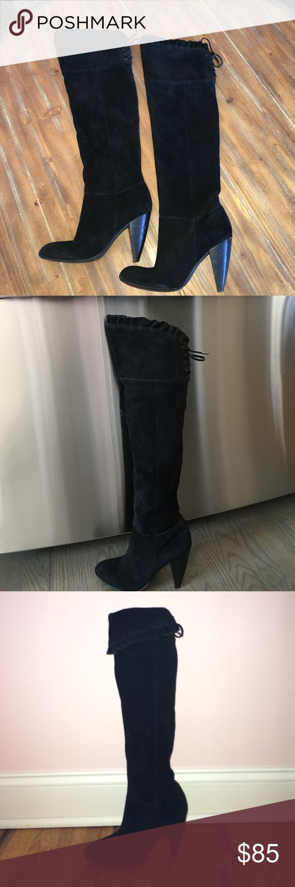GORGEOUS BCBG suede boots! Suede over the knee ruffle top boots with tie behind the knee. These boots can also be worn folded over for an under the knee fit! The suede is in gorgeous condition and there is minor wear and tear to the heel. Dress these boots up with a sexy dress or go for a more casual look over a pair of jeans!! MAKE AN OFFER♠️⬛️▪️ BCBGeneration Shoes Over the Knee Boots