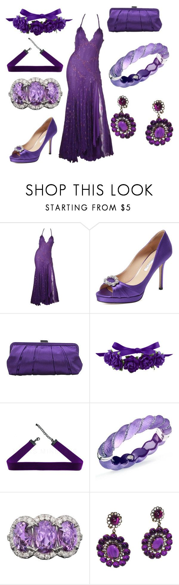 """Violet #1"" by ashlynia ❤ liked on Polyvore featuring Versace, Oscar de la Renta, Nina, Simone I. Smith and Kenneth Jay Lane"