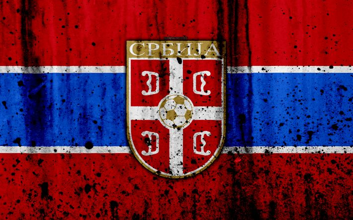 Download wallpapers Serbia national football team, 4k, logo, grunge, Europe, football, stone texture, soccer, Serbia, European national teams