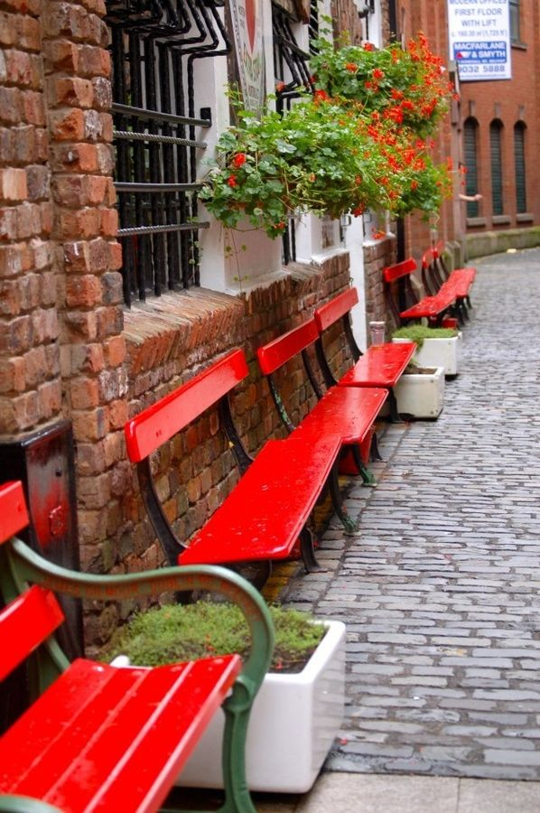 Red benches, Dublin, Ireland RED is my favorite color! I look forward to seeing these in person :) http://www.mevalene.com