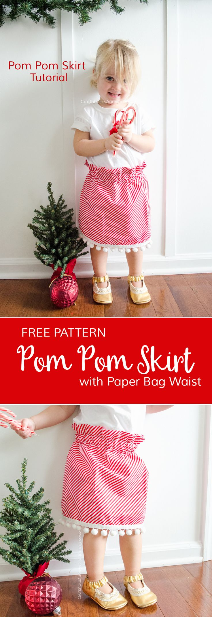 Free Sewing Pattern for Easy Pom Pom Skirt. Whips up in about 1 hour! Would be fun to make a mommy and me of this skirt for Christmas! www.CraftaholicsAnonymous.net
