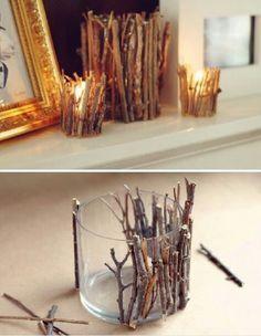 Kerzenglas mit Ästen verziehrt