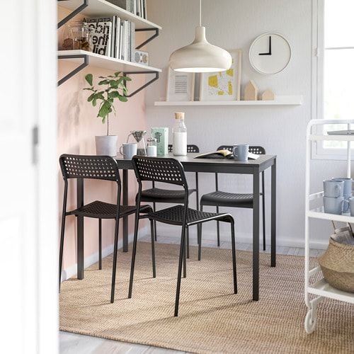 Ikea Tarendo Adde Black Table And 4 Chairs Leather Dining Room